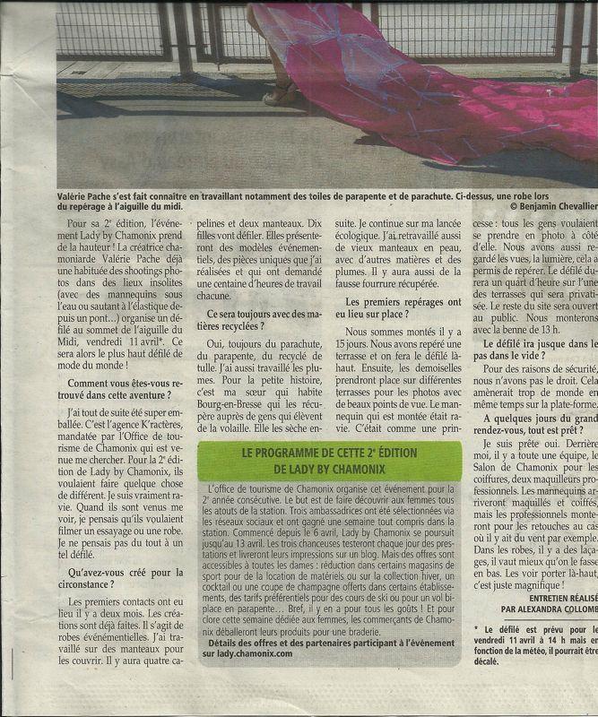 Le Messager article sur le défilé le plus haut du monde 3840 m Aiguille du midi Valérie PACHE