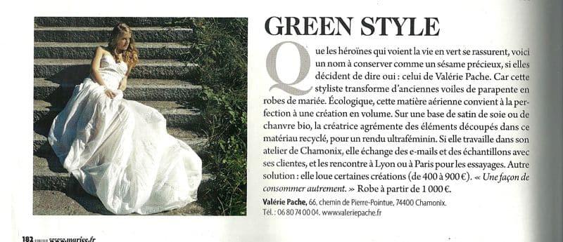 article dans le Mariée Magazine